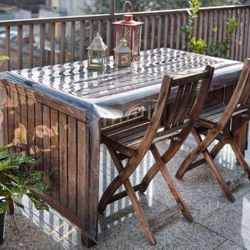 Zaštita vrtnog stola mekanom pvc folijom Polikristal